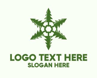 Trees - Green Snowflake Pine logo design