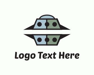 Spaceship - Grey UFO logo design