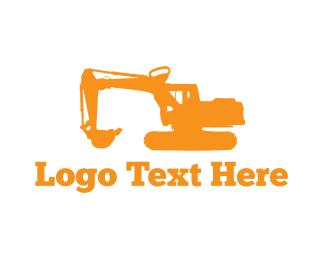 Bulldozer - Excavator Machine logo design