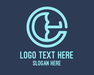Lettering - Umbrella Letter E logo design