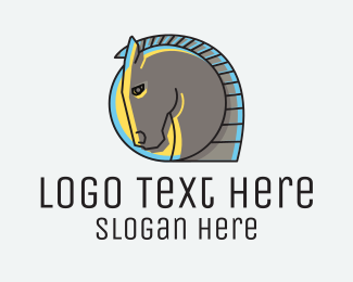 Horse Farm - Glowing Horse Emblem logo design