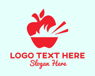 Vegan Food - Apple Food Restaurant logo design