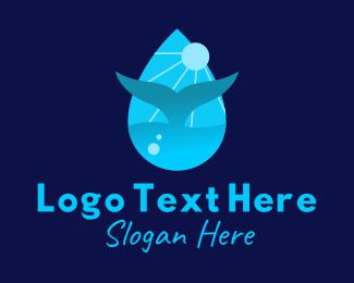 Sun Whale Tail Droplet logo design