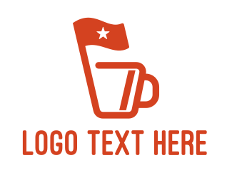 Hot Chocolate - Red Flag Cup Mug Coffee Cafe logo design