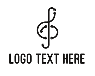 Orchestra - Modern Musical Note Outline logo design