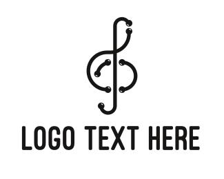 Modern Musical Note Outline logo design