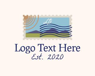 Post - Retro Mountain Stamp Lettermark logo design