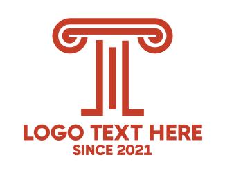 Renaissance - Orange Pillar T logo design