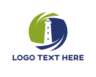 Beach - Lighthouse Swirl logo design