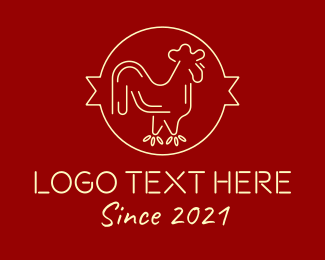 Red Yellow Chicken Rooster logo design