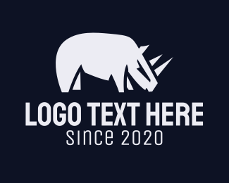 Jungle Animal - Wild Gray Rhino logo design