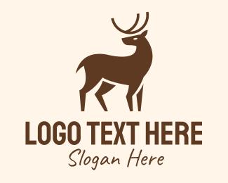 Deer Head - Brown Wild Reindeer logo design