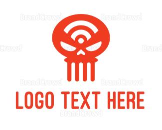 Hacker - Wifi Skull logo design