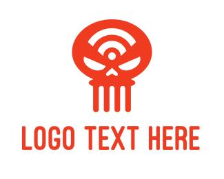Skull - Wifi Skull logo design