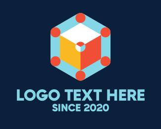 Arcade - Multicolor Hexagon Arcade Cube logo design