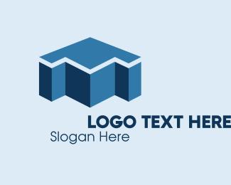 Trader - 3D Blue Arrow  logo design