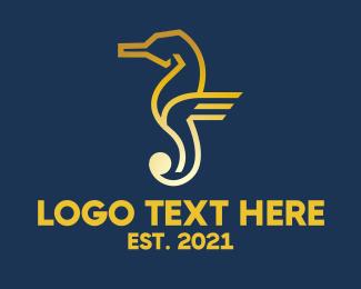 Swimwear - Golden Seahorse logo design