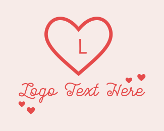 Valentines Day - Red Heart Valentine Letter logo design