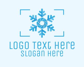 Lens - Snowflake Camera Lens logo design