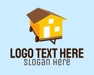 Yellow House - Mobile Home Moving logo design