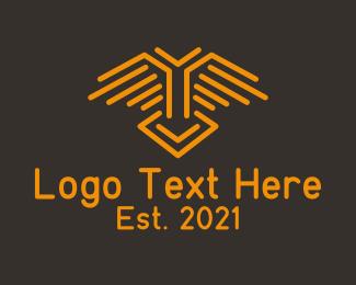 Lines - Orange Wing Line logo design