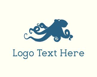 Calamari - Blue Octopus logo design