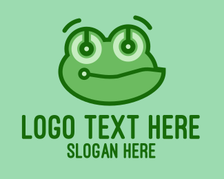 Frog Eyes - Cute Tech Frog logo design
