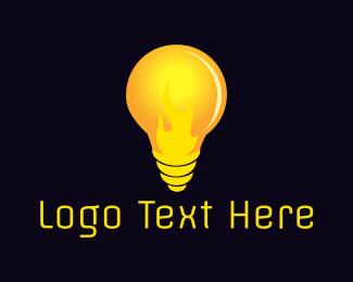 Bulb - Fire Bulb logo design