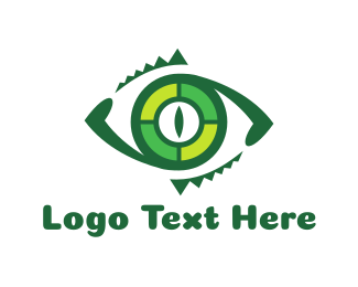 Green Crocodile - Reptilian Eye logo design