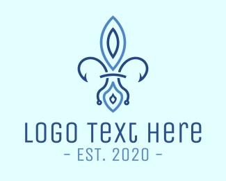 French - Blue French Flower logo design