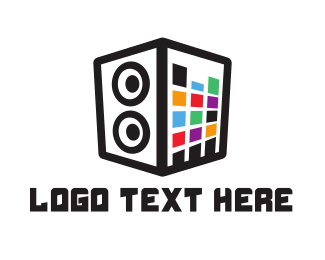 Electronics Store - Colorful Stereo Box logo design
