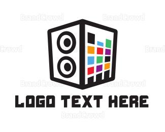 Stereo - Colorful Stereo Box logo design