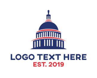 Us - Blue Capitol Building logo design
