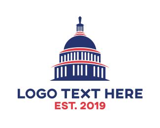 President - Blue Capitol Building logo design