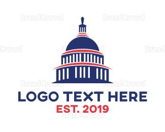 Politics - Blue Capitol Building logo design