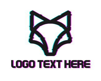 Distorted - Glitch Wolf Outline logo design