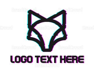 Distorted - Glitch Wolf Outline logo design