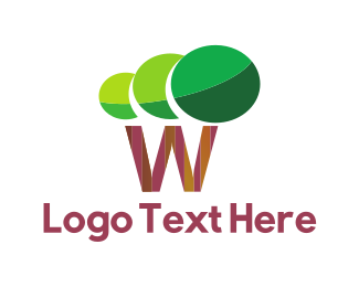 Online Learning - Letter W Tree logo design