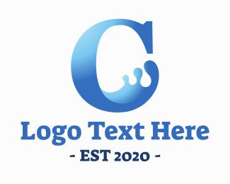 H2o - Liquid C Letter logo design