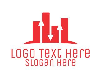 Businessman - Red Chart logo design