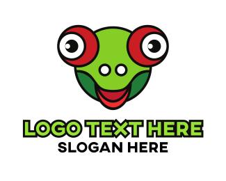 Funny Frog Head Bug Eye Logo