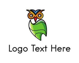 Cartoon Character - Green Owl logo design
