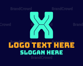"""Blue Neon X"" by BrandCrowd"