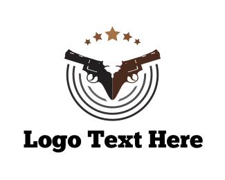 Gun - Two Handguns logo design