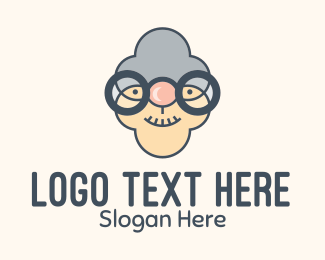 Grandma - Old Granny Head logo design