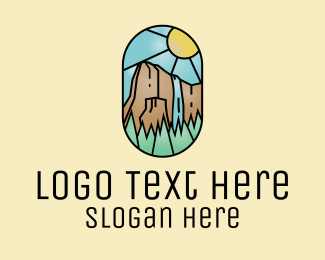 Trek - Waterfall Forest Stained Glass  logo design