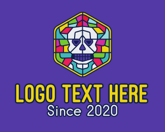 Dia De Los Muertos - Stained Glass Skull logo design