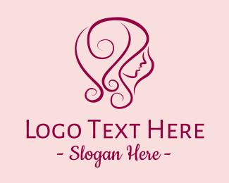 Blonde - Purple Hair Salon Lady logo design
