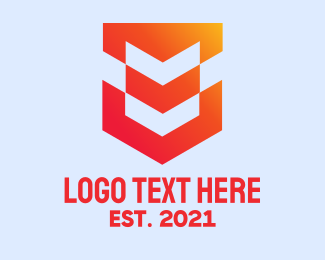 Online Protection - Orange Tech Shield  logo design