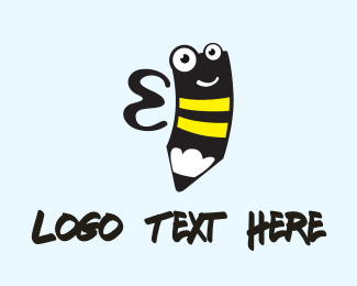 Spelling Bee - Bee Pencil logo design